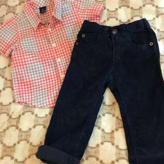 Gap Shirt / old Navy Corduroy Pants