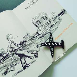 Bejewelled Airplane Pin in Monochrome