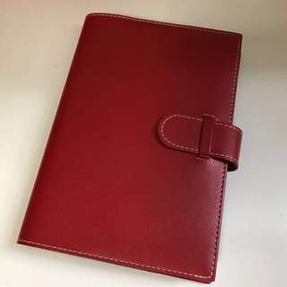 Wine red Pierre Belvedere A5 Notebook with Genuine Leather cover