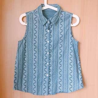 Queenshop 民族圖騰無袖襯衫#雙十一女裝出清#手滑買太多