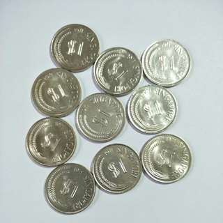 S'pore 1971 $1 coin (10pcs)
