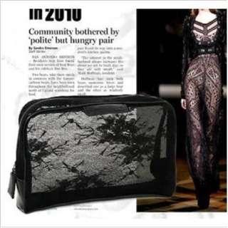 🚚 GIVENCHY紀梵希專櫃贈品黑色蕾絲紗網半透明收納包/化妝包/筆袋/萬用包
