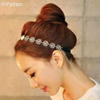 🚚 韓國髮飾-鏤空玫瑰花髮帶