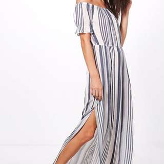 Garcia Stripe Frill-Sleeve Maxi Dress (Boohoo)