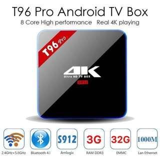 Latest Kodi T96 Pro Android 6.0 TV Box Kodi Fully Loaded 4K S912 Octa Core 3G 32G Smart Google Rooted Android TV Box