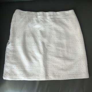 USED (Zara) White Mini Skirt