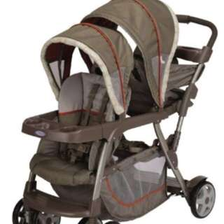 Reduced Graco Ready2grow twin stroller/ pram with raincover
