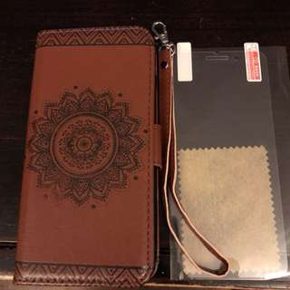 Wallet case for IPhone 8 Plus or 7 Plus with screen protector