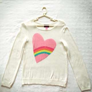 BNWOT The Children's Place Off White Rainbow Heart Knit Sweater L*10/12