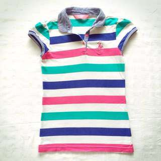 Beverly Hills Polo Club Blue Pink Green Striped Polo Shirt Size 10
