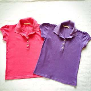JusTees Pink and Purple Polo Shirts Size 10