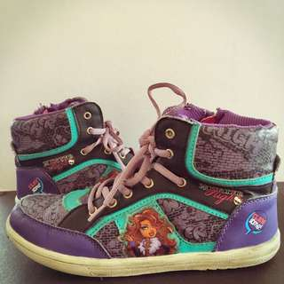 Monster High Purple Black Turquoise Leatherette High Cut Shoes