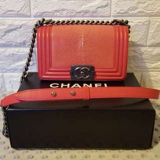 Chanel boy metallic stingray exotic $7000+