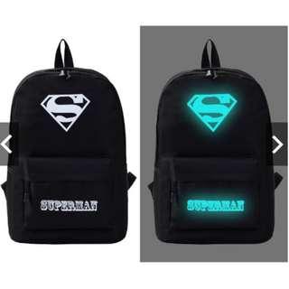 Casual glow In the dark unisex backpack school bag SUPERMAN/ONE PIECE/MUSIC