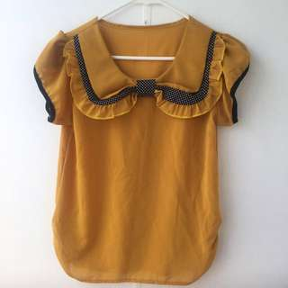 Vintage Style Bow Blouse Size 10