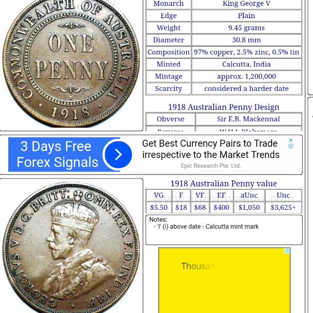 1918 Australia Rare Penny Low Mintage Coin   , Vintage