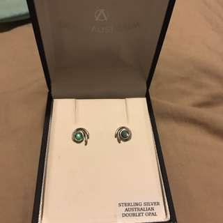Australian opal ear rings
