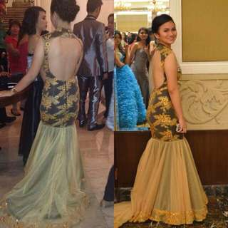 Backless gold and black gown
