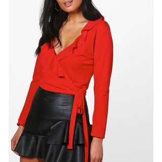 Red wrap ruffle crop top size 8