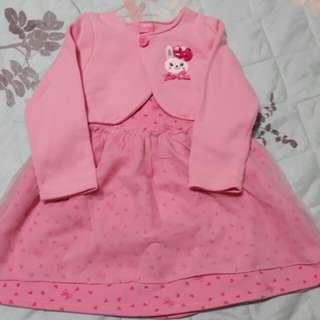 買就送 小兔子粉色洋裝+小外套