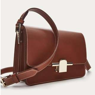 MASSIMO DUTTI PLAIN LEATHER CROSSBODY BAG