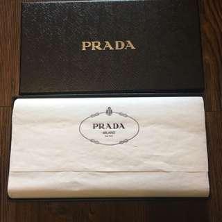 全新 Prada 長身深藍色牛皮拉鏈銀包 2M1264 Prada Saffiano Zipper Wallet (deep Blue Color)