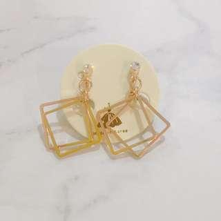 方型垂墜感夾式耳環 全新商品✨ #我的女裝可超取