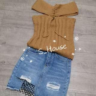 🚚 S_House 全新 網襪 破損 破洞 刷破 不修邊 下襬抽鬚 不規則 牛仔裙 窄裙