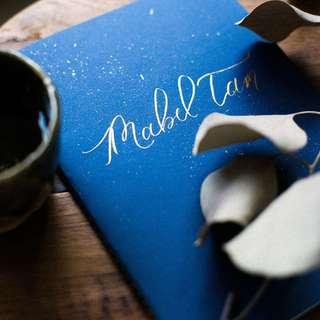 Customised Hand Lettered Calligraphy on Blank Journals / Notebooks, Custom Names