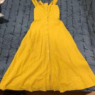 🚚 黃色連身洋裝