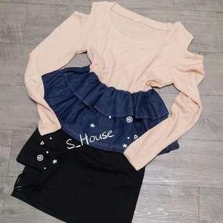 🚚 S_House 全新 針織x牛仔 挖肩 露肩 長袖 荷葉 縮腰 上衣