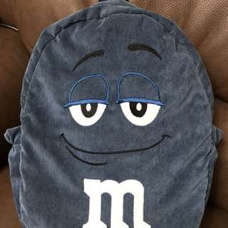 M&M'S 巧克力 藍M 巧克力 燈芯絨刺繡 後背包/書包