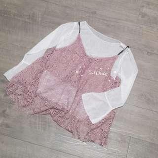 🚚 S_House 全新 兩件式 皮革細肩帶 鏤空蕾絲 傘狀小可愛 透視網紗 小喇叭袖 上衣