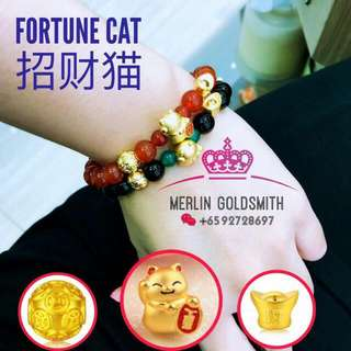 999 (24K ) 3D Craved fortune Cat match with Red /Black Agate Bracelet.