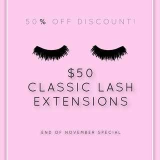 $50 Classic Lash Extensions NOV SPECIAL