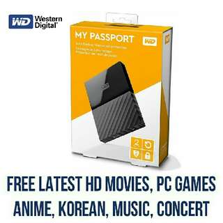 1TB 2TB WD External Hard Drive HDD With FREE Movies, Series And Pc Games