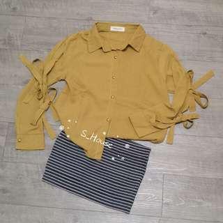 🚚 S_House 全新 雪紡 長袖 襯衫 袖鏤空 蝴蝶結 金釦 上衣