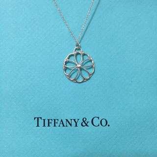 TIFFANY&Co.少見款鑲鑽10辦花純銀項鍊