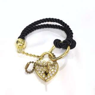 Love Heart Lock Charm Bracelet Black String Rope