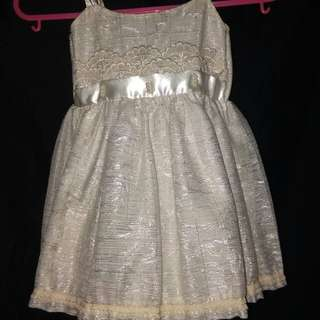 SHINY WHITE BAPTISMAL OR BIRTHDAY DRESS / GOWN FOR BABY GIRLS