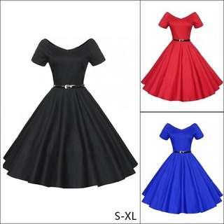 nice womens vantage fashion short sleeves big bottom swing dress