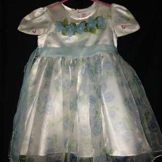 SHINY WHITE & SKY BLUE BAPTISMAL OR BIRTHDAY GOWN FOR BABY GIRLS