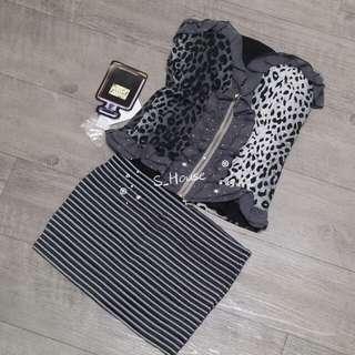 🚚 S_House 全新 撞色 不對稱 豹紋 棉質 平口 雪紡荷葉 燙鑽 馬甲 上衣