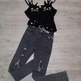 🚚 S_House 全新 韓版 水洗 黑灰色 微刷破 貼身 窄管褲
