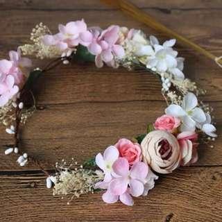 韓式新娘永生花頭飾干草花髮飾花環配手花