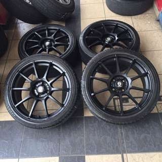 Original sports rim sparco asetto gara 17 inch sports rim swift tayar 70% black widow