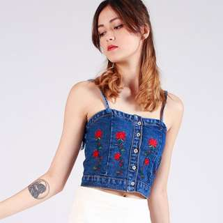 Floral embroidered denim bralet