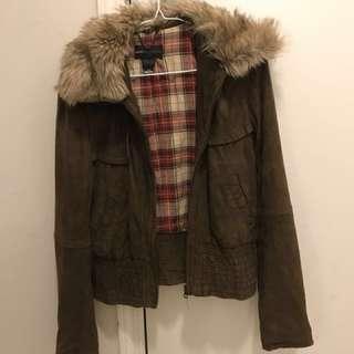 Mango Genuine leather suede jacket