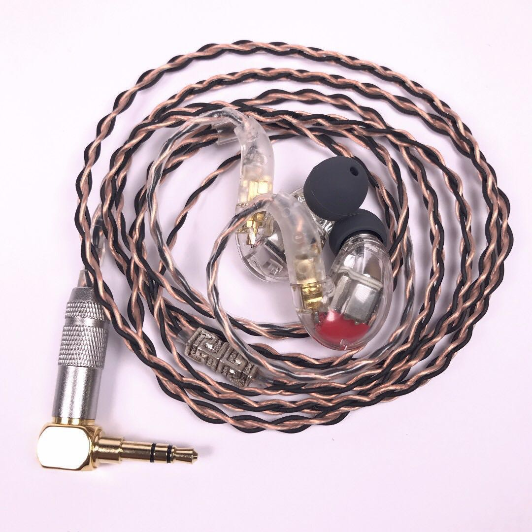3 twin 6 Driver Balanced Armature In Ear Monitor Earphones Universal DIY  IEM Clear Case 7N 25AWG OCC Black & Copper cable