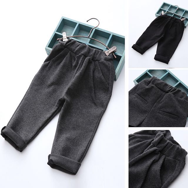 鬆緊休閒長褲 110 男童 女童 休閒長褲 灰色 深灰